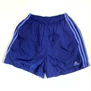 ADIDAS 1990s Blue Drawstring Nylon Shorts Medium